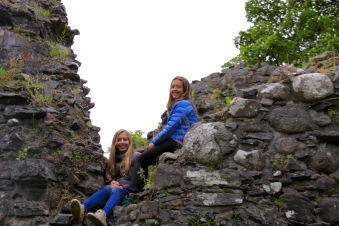Upon turning a corner we found Anna and Sophia had scaled a wall of Inverlochy